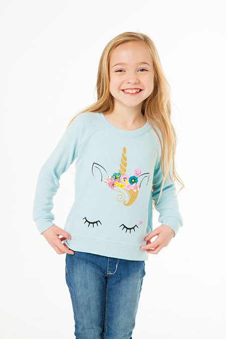 LOVE KNIT RAGLAN PULLOVER CHASER - UNICORN FACE - WATERFALL