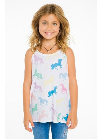 COTTON JERSEY FLOUNCE CAMI (CHASER KIDS - UNICORNS FOREVER) (WHITE)