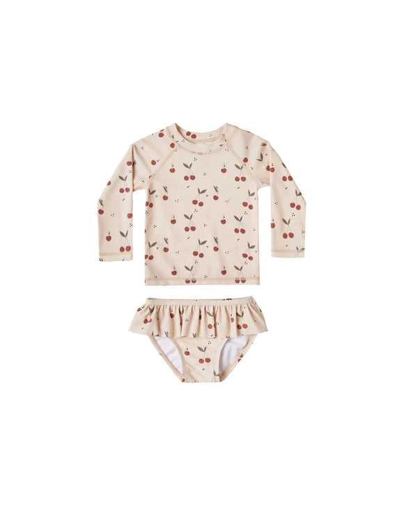 Rylee & Cru Girls Rashguard Set- Cherries