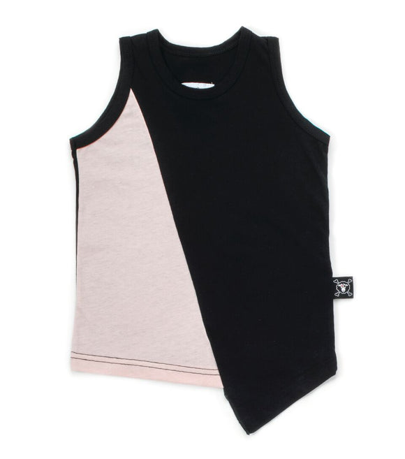 1/2 & 1/2 Diagnol Tank Top - Black & Powder Pink