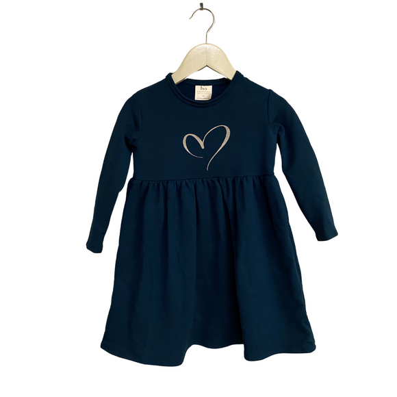 LWS Bamboo Dress - Teal with sparkle heart