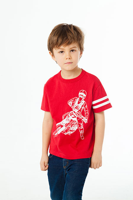 COTTON SHORT SLEEVE TEE CHASER - MOTO RACER (CARDINAL)