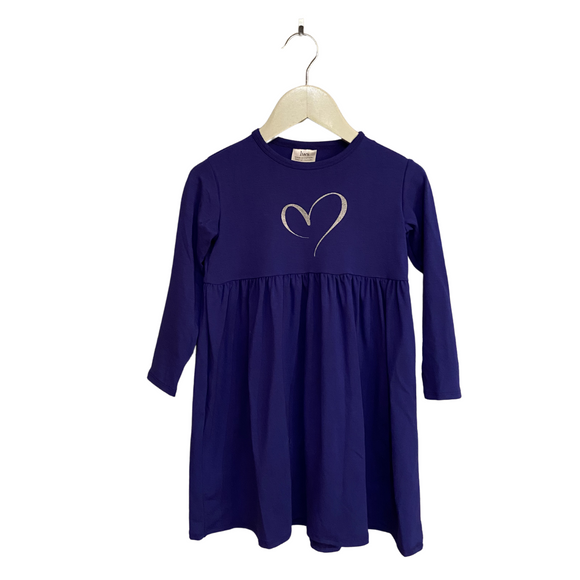 LWS Bamboo Dress - Indigo with sparkle heart