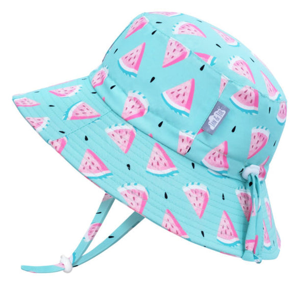 JAN & JUL GRO-Kids' Gro-With-Me® Aqua-Dry Bucket Sun Hat | Watermelon