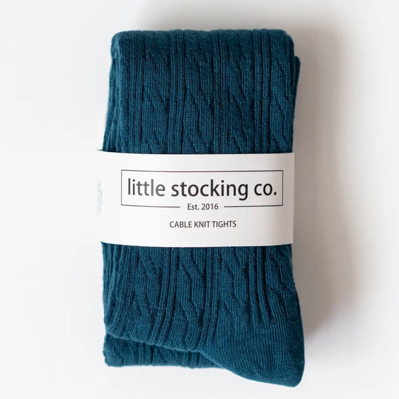 LIttle Stocking Co. Cable Knit Tights - Deep Teal