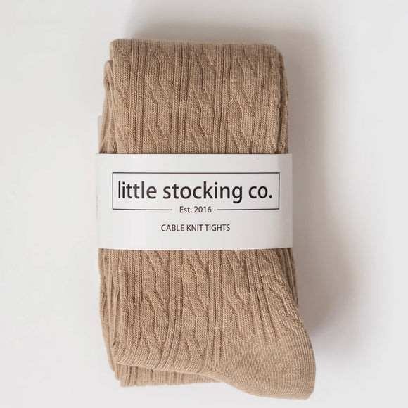 LIttle Stocking Co. Cable Knit Tights - Oat