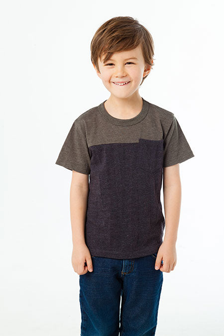 BOYS BLOCKED S/S CREW NECK TEE W/ POCKET (MOUNTAIN AND BLACK)