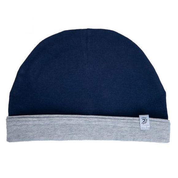 Calikids cotton reversible hat - navy/grey