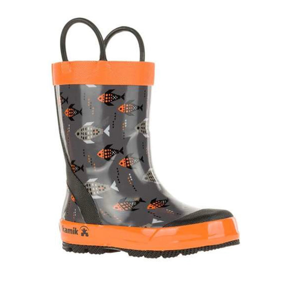Kamik The Fishride Rain Boot - Charcoal/Orange