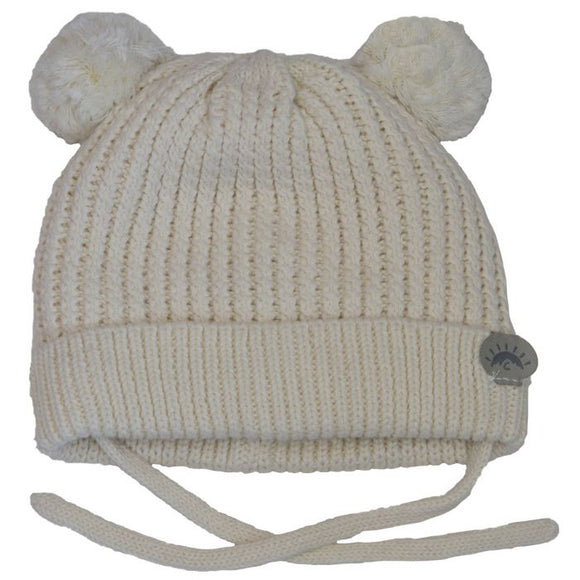 Calikids Cotton Knit PomPom Hat -Cream
