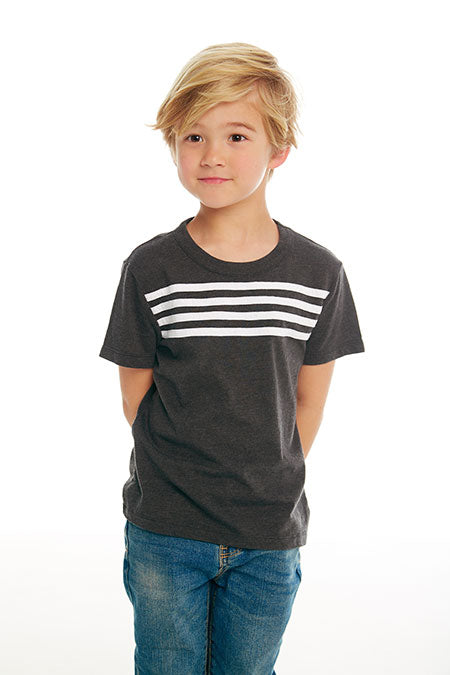 BOYS COTTON JERSEY S/S TEE W/ STRAPPINGS (VINTAGE BLACK AND WHITE)