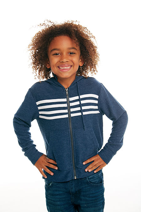 BOYS COZY KNIT L/S ZIP UP HOODIE W/ STRAPPINGS (AVALON AND WHITE)
