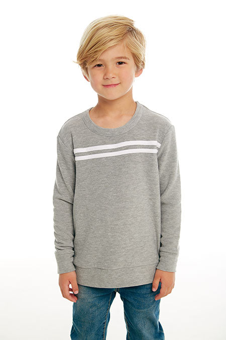BOYS COZY KNIT L/S CREW NECK PULLOVER W/ STRAPPINGS (HEATHER GREY AND WHITE)