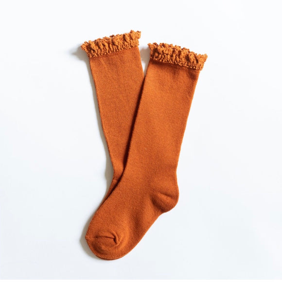 LIttle Stocking Co. Lace Top Knee Highs - Pumpkin Spice