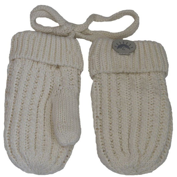 Calikids Cotton Knit Baby Mitts - Cream