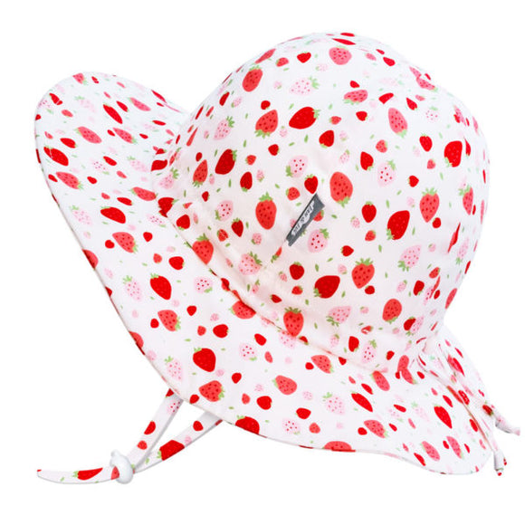 JAN & JUL GRO-WITH-ME 50+ UPF Cotton Floppy Hat - Strawberry