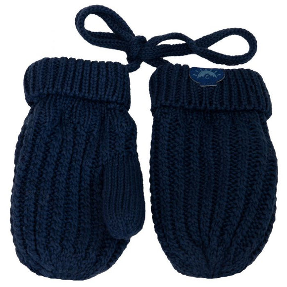 Calikids Cotton Knit Baby Mitts - Navy