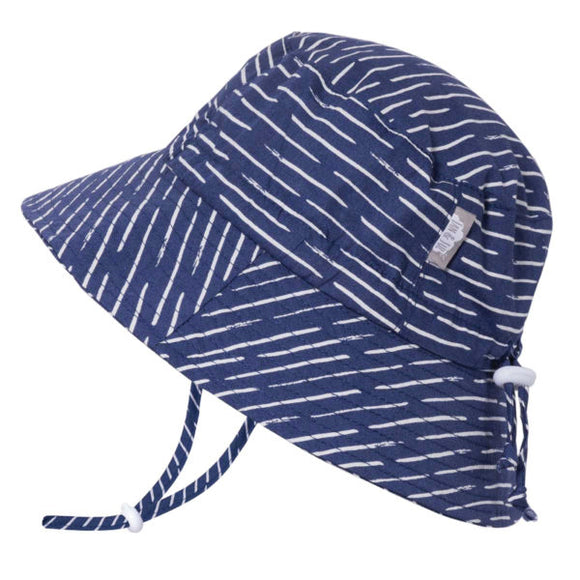 JAN & JUL GRO-WITH-ME 50+ UPF Cotton Bucket Hat - Navy Waves