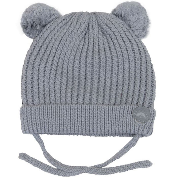 Calikids Cotton Knit PomPom Hat -Grey