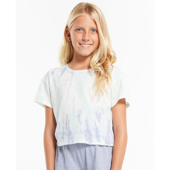 Z Supply- Girls Nattie Tie Dye Tee - Aqua Ocean