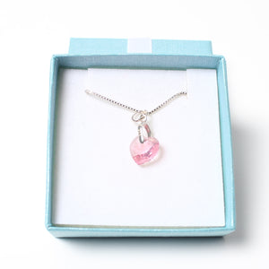 Sterling Silver Necklace - Small Pink Swarovski Heart