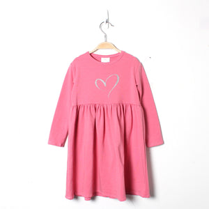 LWS Bamboo Dress - Pink with sparkle heart