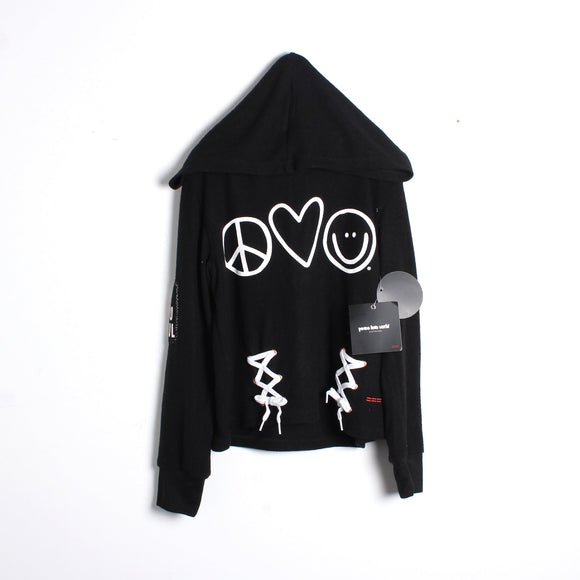 peace love world cropped sweatshirt