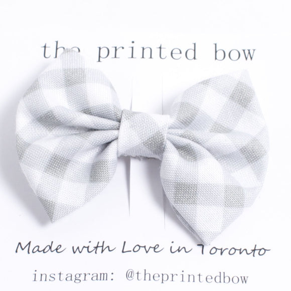 Printed Bow Hairclip/Bowtie - grey gingham