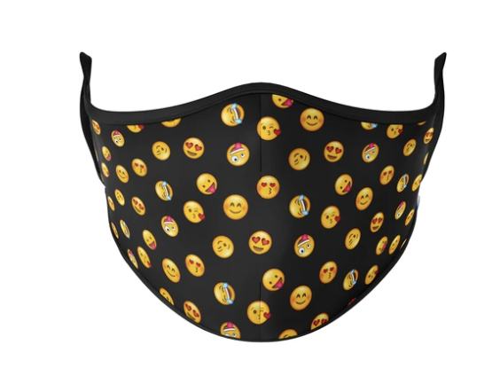 Emojis Reusable Face Masks - Adult Sml/Med / Black