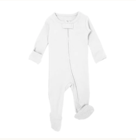 L'oved Baby Organic Zipper Jumpsuit - White