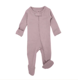 L'oved Baby Organic Zipper Jumpsuit - Lavender