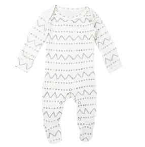 L'oved Baby Organic Lap-Shoulder Footie - Seafoam Mountains