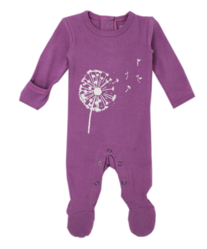 L'oved Baby Organic Graphic Footie - Grape Dandelion
