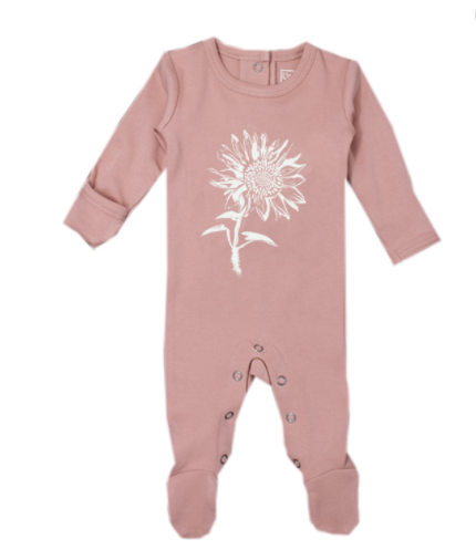 L'oved Baby Organic Graphic Footie - Mauve Sunflower