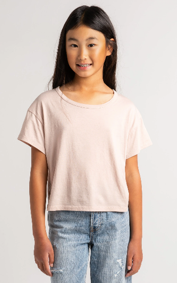 Z Supply Girls Nattie Organic Tee- Ash Pink
