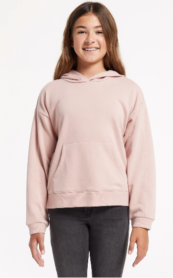 Z Supply Girls Piper Hoodie- Pink Blossom