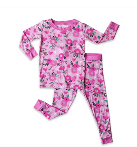 Sweetheart Floral 2 Piece Bamboo Pajama Set- Little Sleepies
