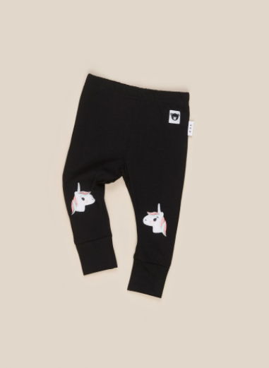 HuxBaby Unicorn Knee Length Legging - Black