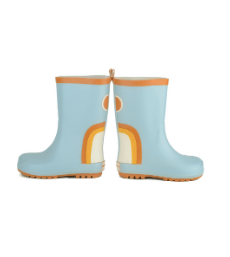 Grech & Co. Children's Rubber Boots- Rainbow- Light Blue