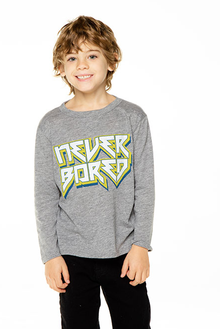 Boys Triblend L/S Crew Neck Tee - Never Bored
