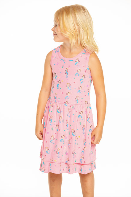 Girls Rib Tiered Tank Dress- Carnation