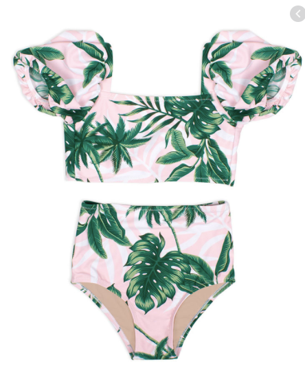 shade critters- High Waist Bikini- Pink Palm