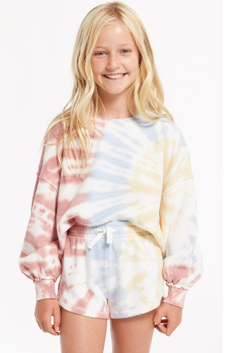 Z Supply Girls Mayori Tie Dye Sweatshirt- White