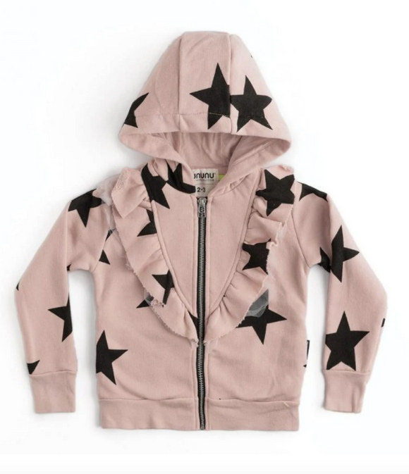 Nununu Front Ruffled Star Zip Hoodie- Powder Pink