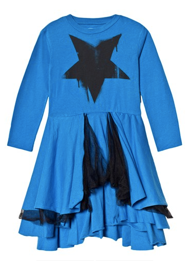 Nununu Falling Star Layered Dress- Blue