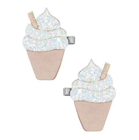 Mimi & Lula Ice Cream Clips- White Glitter