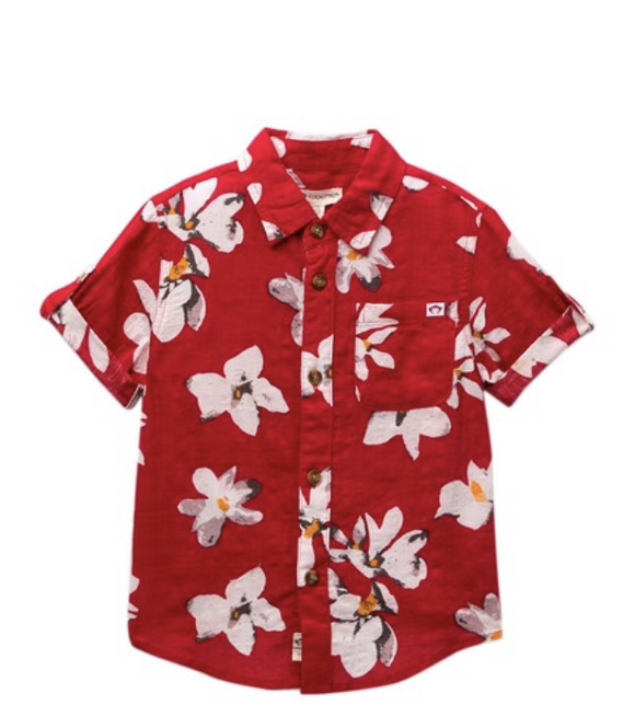 Appaman Boys Red Floral Print Shirt