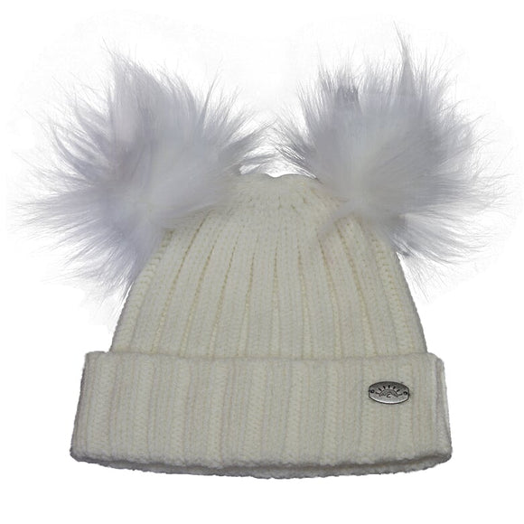 2 Pompom Knit Touque - Available in Creme & Pink