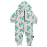Whistle & Flute Robot Allover Print Hooded Romper