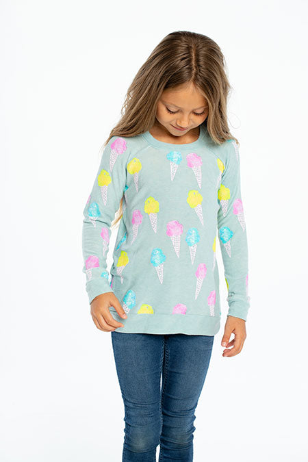 Cozy Knit Raglan Pullover Ice Cream